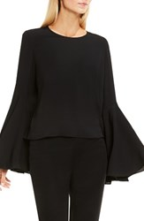 Vince Camuto Women's Bell Sleeve Blouse Rich Black