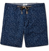 Hartford Slim Fit Indigo Dyed Floral Cotton Jacquard Shorts Indigo