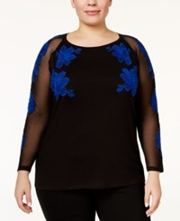 Inc International Concepts Plus Size Embroidered Illusion Top Only At Macy's Goddess Blue