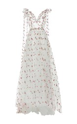 Luisa Beccaria Floral Embroidered Tulle Ball Gown