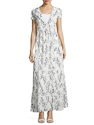 Lucca Couture Floral Print Tiered Dress White Blue