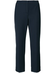 Emporio Armani Cropped Tailored Trousers Blue