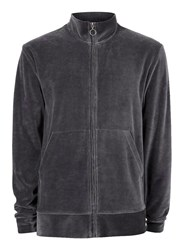 Topman Black Ltd Grey Velour Track Top