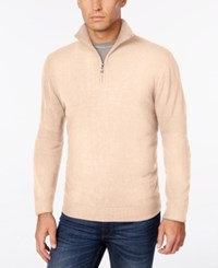 Weatherproof Vintage Men's Big And Tall Quarter Zip Sweater Only At Macy's Ivory