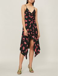Moandco. Floral Print Spaghetti Strap Woven Dress Pink And Black