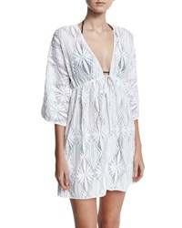 Milly Ava Floral Crochet Tunic Coverup Dress White