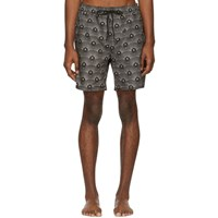 Saturdays Surf Nyc Black And Beige Deco Timothy Swim Shorts