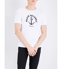 Sandro Marine Nationale Cotton Jersey T Shirt White
