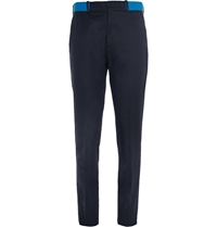 Alexander Mcqueen Slim Fit Contrast Waistband Cotton Chinos Blue