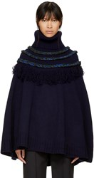 Harikae Navy Fringe Turtleneck