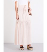 See By Chloe Drawstring Tiered Gauze Maxi Skirt Silver Pink