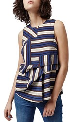 Women's Topshop Asymmetrical Stripe Sleeveless Top Grey Multi