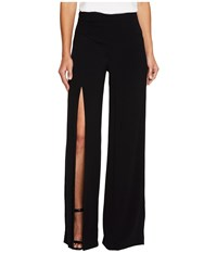 Nicole Miller Alex Satin One Leg Slit Pants Black Women's Casual Pants