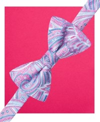Countess Mara Men's Pastel Paisly Pre Tied Bow Tie And Pocket Square Set Pink