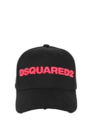Dsquared Logo Cotton Gabardine Baseball Cap Black