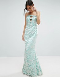 Forever Unique Georgia Bandeau Maxi Dress In Lace Mint Green