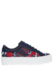 Salvatore Ferragamo 50Mm Eddy Embroidered Denim Sneakers