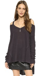 Free People Moonshine V Neck Sweater Charcoal