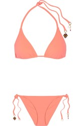 Stella Mccartney Embellished Triangle Bikini Coral