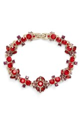 Marchesa Crystal Bracelet Red Multi Gold