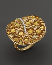 Michael Aram 18K Yellow Gold Large Botanical Leave Ring With Pave Yellow Sapphires And Diamonds Gold Multi