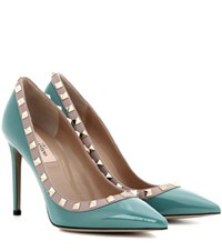Valentino Rockstud Patent Leather Pumps Green
