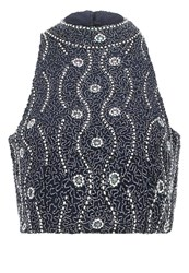 Lace And Beads Jojo Vest Navy Dark Blue