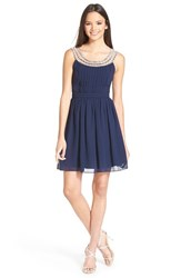 Junior Women's A. Drea Beaded Skater Dress Navy