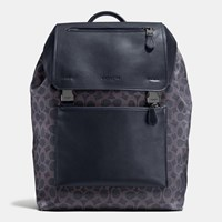 Coach Manhattan Backpack In Signature Coated Canvas Bk Dark Denim Midnight