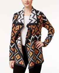 G.H. Bass And Co. Jacquard Drape Front Cardigan Black Combo