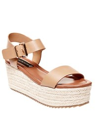 Steve Madden Sabbie Leather Espadrille Wedge Sandals Tan