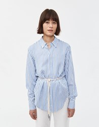 Bassike Tumbled Viscose Button Up Blue Natural