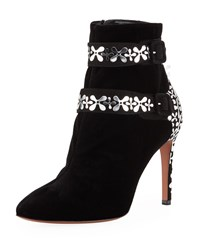 Alaia Velvet Flower Embellished Two Buckle Ankle Booties Black