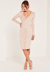 Missguided Nude Plunge Lace Detail Suede Mini Dress