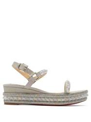 88cd3b4745 Christian Louboutin Pyradiams 60 Glitter Wedge Sandals Silver