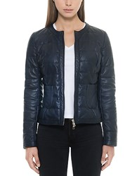 Forzieri Dark Blue Quilted Leather Women's Jacket