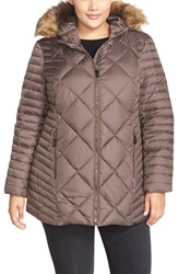 Plus Size Women's Marc New York 'Kami' Quilted Jacket With Faux Fur Trim Anthracite
