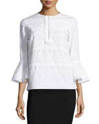 Oscar De La Renta Tiered Lace Poplin Bell Sleeve Top White