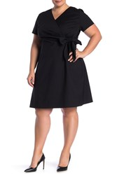 Lafayette 148 New York Surplice Neck Rachel Dress Plus Size Black