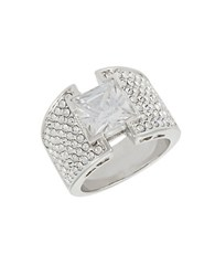 Michela Pave Encrusted Solitaire Band Ring Silver