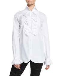 Ralph Lauren Ruffled Cotton Blouse White