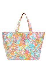 Lilly Pulitzer Print Canvas Beach Tote Blue Green Scuba To Cuba