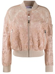 Red Valentino Point D'esprit Embroidered Bomber Jacket 60