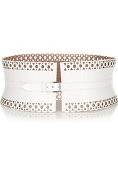 Alaia Laser Cut Leather Waist Belt White