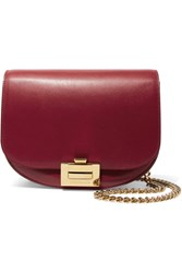 Victoria Beckham Box Chain Leather Shoulder Bag Red