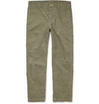 Outerknown Playa Slim Fit Organic Cotton Trousers Green