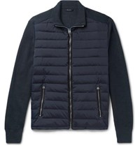 Tom Ford Ribbed Wool And Quilted Shell Down Jacket Midnight Blue