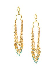 Azaara 22K Goldplated Sterling Silver And Multi Stone Drop Earrings Yellow