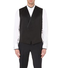 Kilgour Contrast Piping Silk Blend Waistcoat Black