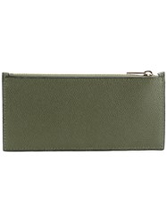 Valextra Card And Coin Zip Purse Green